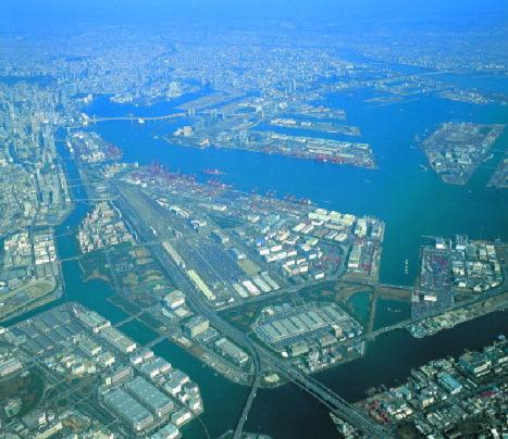 東京港上空写真