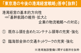 「東京港の今後の港湾経営戦略」答申【抜粋】
