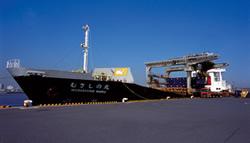 写真:港に停泊した船からトラックにコンテナが積まれる様子